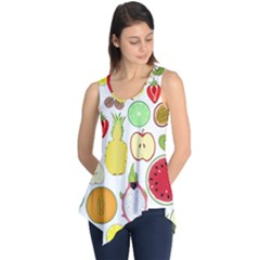 Mango Fruit Pieces Watermelon Dragon Passion Fruit Apple Strawberry Pineapple Melon Sleeveless Tunic by Mariart