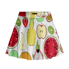 Mango Fruit Pieces Watermelon Dragon Passion Fruit Apple Strawberry Pineapple Melon Mini Flare Skirt by Mariart