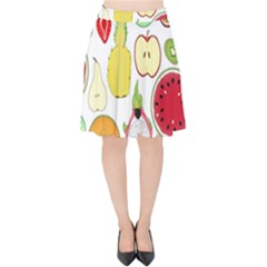 Mango Fruit Pieces Watermelon Dragon Passion Fruit Apple Strawberry Pineapple Melon Velvet High Waist Skirt by Mariart