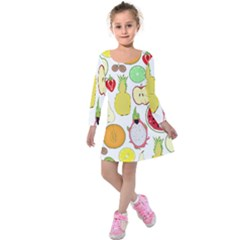 Mango Fruit Pieces Watermelon Dragon Passion Fruit Apple Strawberry Pineapple Melon Kids  Long Sleeve Velvet Dress by Mariart