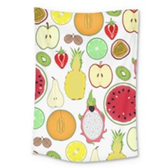 Mango Fruit Pieces Watermelon Dragon Passion Fruit Apple Strawberry Pineapple Melon Large Tapestry by Mariart