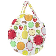 Mango Fruit Pieces Watermelon Dragon Passion Fruit Apple Strawberry Pineapple Melon Giant Round Zipper Tote by Mariart