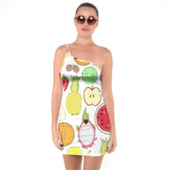 Mango Fruit Pieces Watermelon Dragon Passion Fruit Apple Strawberry Pineapple Melon One Soulder Bodycon Dress by Mariart