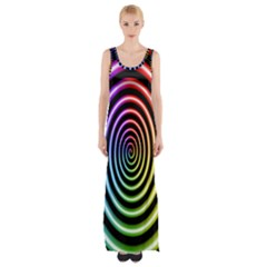 Hypnotic Circle Rainbow Maxi Thigh Split Dress
