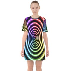 Hypnotic Circle Rainbow Sixties Short Sleeve Mini Dress