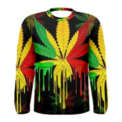 Marijuana Cannabis Rainbow Love Green Yellow Red Black Men s Long Sleeve Tee