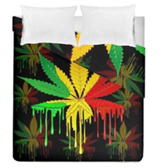 Marijuana Cannabis Rainbow Love Green Yellow Red Black Duvet Cover Double Side (queen Size) by Mariart