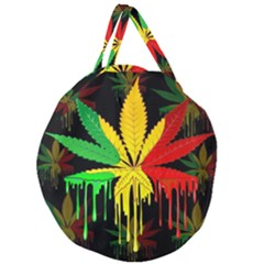 Marijuana Cannabis Rainbow Love Green Yellow Red Black Giant Round Zipper Tote by Mariart