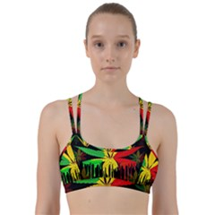 Marijuana Cannabis Rainbow Love Green Yellow Red Black Line Them Up Sports Bra