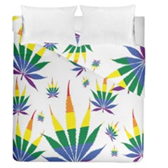 Marijuana Cannabis Rainbow Love Green Yellow Red White Leaf Duvet Cover Double Side (queen Size) by Mariart