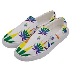 Marijuana Cannabis Rainbow Love Green Yellow Red White Leaf Men s Canvas Slip Ons by Mariart