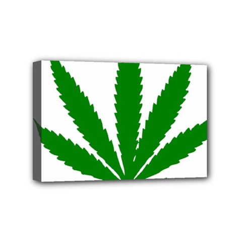 Marijuana Weed Drugs Neon Cannabis Green Leaf Sign Mini Canvas 6  X 4  by Mariart