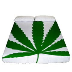 Marijuana Weed Drugs Neon Cannabis Green Leaf Sign Fitted Sheet (queen Size) by Mariart