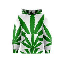 Marijuana Weed Drugs Neon Cannabis Green Leaf Sign Kids  Pullover Hoodie by Mariart