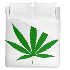 Marijuana Weed Drugs Neon Cannabis Green Leaf Sign Duvet Cover (queen Size) by Mariart