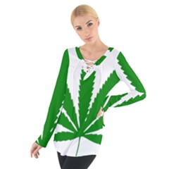 Marijuana Weed Drugs Neon Cannabis Green Leaf Sign Tie Up Tee by Mariart