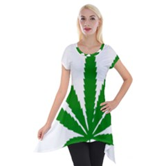 Marijuana Weed Drugs Neon Cannabis Green Leaf Sign Short Sleeve Side Drop Tunic by Mariart