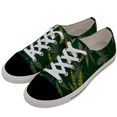 Marijuana Cannabis Rainbow Love Green Yellow Leaf Women s Low Top Canvas Sneakers by Mariart