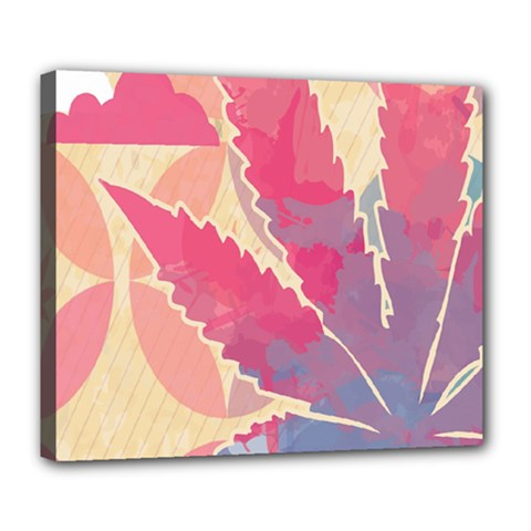 Marijuana Heart Cannabis Rainbow Pink Cloud Deluxe Canvas 24  X 20   by Mariart