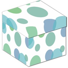 Polka Dots Blue Green White Storage Stool 12   by Mariart