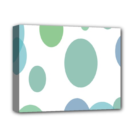 Polka Dots Blue Green White Deluxe Canvas 14  X 11  by Mariart