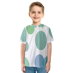 Polka Dots Blue Green White Kids  Sport Mesh Tee by Mariart