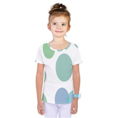 Polka Dots Blue Green White Kids  One Piece Tee by Mariart