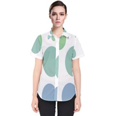 Polka Dots Blue Green White Women s Short Sleeve Shirt by Mariart
