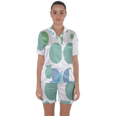 Polka Dots Blue Green White Satin Short Sleeve Pyjamas Set