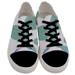 Polka Dots Blue Green White Men s Low Top Canvas Sneakers