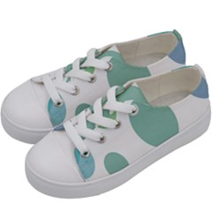 Polka Dots Blue Green White Kids  Low Top Canvas Sneakers by Mariart