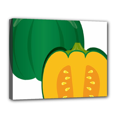 Pumpkin Peppers Green Yellow Canvas 14  X 11  by Mariart
