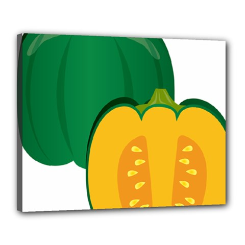 Pumpkin Peppers Green Yellow Canvas 20  X 16  by Mariart