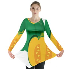 Pumpkin Peppers Green Yellow Long Sleeve Tunic  by Mariart