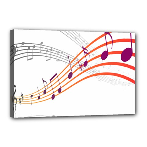 Musical Net Purpel Orange Note Canvas 18  X 12  by Mariart