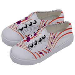 Musical Net Purpel Orange Note Kids  Classic Low Top Sneakers by Mariart