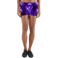 Purple Black Star Neon Light Space Galaxy Yoga Shorts