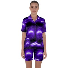 Purple Black Star Neon Light Space Galaxy Satin Short Sleeve Pyjamas Set