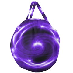 Purple Black Star Neon Light Space Galaxy Giant Round Zipper Tote by Mariart