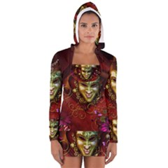 Wonderful Venetian Mask With Floral Elements Long Sleeve Hooded T Shirt by FantasyWorld7