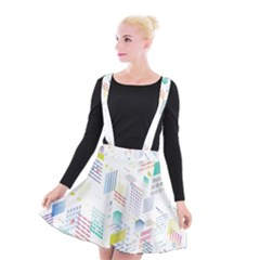 Layer Capital City Building Suspender Skater Skirt by Mariart