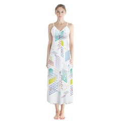 Layer Capital City Building Button Up Chiffon Maxi Dress