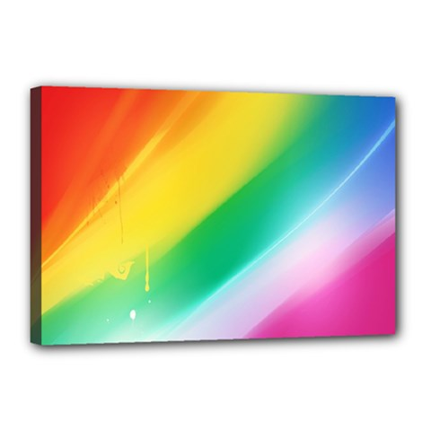 Red Yellow White Pink Green Blue Rainbow Color Mix Canvas 18  X 12  by Mariart