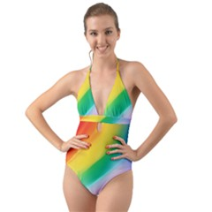 Red Yellow White Pink Green Blue Rainbow Color Mix Halter Cut Out One Piece Swimsuit