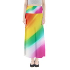Red Yellow White Pink Green Blue Rainbow Color Mix Full Length Maxi Skirt by Mariart