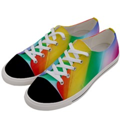 Red Yellow White Pink Green Blue Rainbow Color Mix Women s Low Top Canvas Sneakers by Mariart