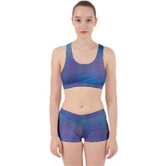 Rain Star Planet Galaxy Blue Sky Purple Blue Work It Out Sports Bra Set by Mariart