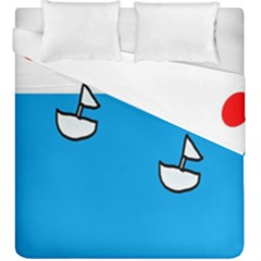 Ship Sea Beack Sun Blue Sky White Water Duvet Cover Double Side (king Size) by Mariart