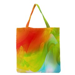 Red Yellow Green Blue Rainbow Color Mix Grocery Tote Bag