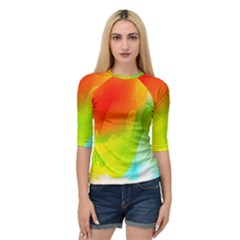 Red Yellow Green Blue Rainbow Color Mix Quarter Sleeve Raglan Tee by Mariart
